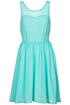 Sleeveless Mint Pleated dress #Romwe