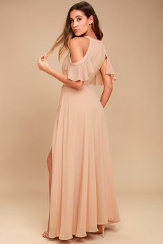 8c51489777a8 Easy Listening Blush Off-the-Shoulder Wrap Maxi Dress