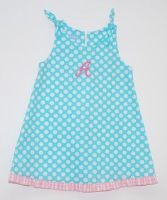 Look what I found on #zulily! Aqua Circle Initial Tie A-Line Dress - Infant, Toddler & Girls #zulilyfinds