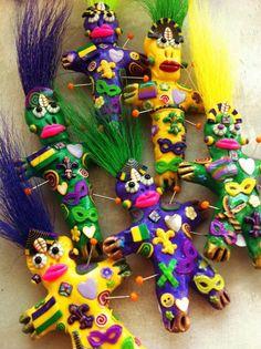 voodoo doll magnets/ mardi gras colors