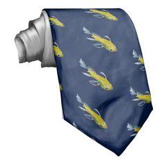 Yellow koi Japanese carp watercolour art fish Tie