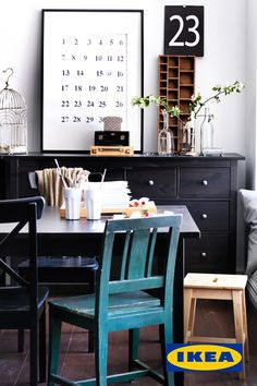 Dining room storage: the link doesn't work, but this is a great idea: use two Hemnes Ikea dressers to create a large amount of storage in your dining room. Ikea Inspiration, Interior Inspiration, Workspace Inspiration, Kitchen Inspiration, Black And White Dining Room, Black White, Black Wood, Black Table, White Art
