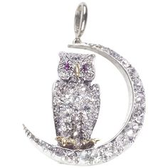 View this item and discover similar for sale at - An antique owl and crescent brooch, with an old-cut and rose-cut diamond pavé set owl, with cabochon-cut ruby eyes, with a yellow gold beak and feet, sitting Bird Jewelry, Animal Jewelry, Vintage Jewelry, Jewelry Necklaces, Jewellery, Moonstone Jewelry, Selling Jewelry, Jewelry Watches, Brooch
