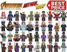 Lego Standard Minifigure Antman Wasp Marvel Avenger Super Heroes Building Blocks Pop Marvel, Lego Marvel, Marvel Avengers, Lego Design, Book Design, Lego Iron Man, Lego For Kids, Cool Lego Creations, Lego Projects