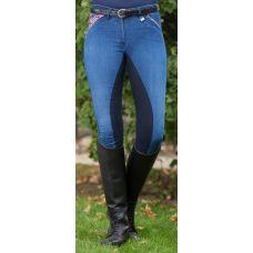 Moderne jeans rijbroek met 3/4 alos kustlederen zitvlak, en elastische beenafsluiting. Zak met rits aan de voorlkant en 2 stoere steekzakken aan de achterkant. Kindermaten tot 146 hebben een verstelbaar elastiek in de tailleband.