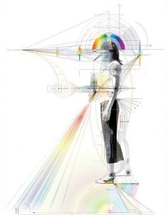 South Korean artist Minjeong An infographic. A blueprint of the artist's self, composed of different flowing energies.