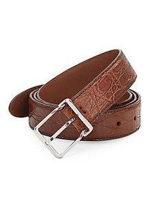 Brunello Cucinelli Embossed Leather Belt - Warm Brown - Size 1