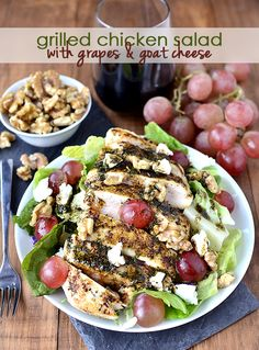 New Year Eats: Grilled Chicken Salad with Grapes and Goat Cheese | BHG Delish Dish