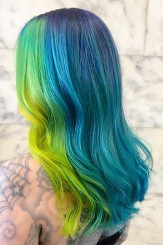 Hair Color Blue, Cool Hair Color, Colored Hair, Neon Hair, Ombre Hair, Arctic Fox Hair Dye, Galaxy Hair, Beautiful Hair Color, Bright Hair