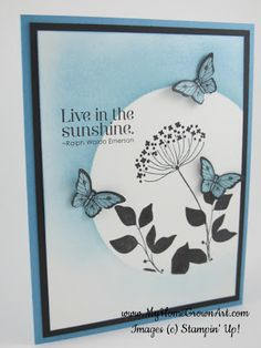 Stamps:  Summer Silhouettes, Papillon Potpourri, Pursuit of Happiness Paper: Marina Mist card stock (5 1/2 x 8 1/2) Basic Black card stock (4 x 5 1/4) Whisper White card stock (3 3/4 x 5) Ink: Marina Mist and Basic Black StazOn ink Tools: Big Shot Die Cutting machine  3 1/2 Circle Originals die  Bitty Butterfly Punch  Stamping Sponges