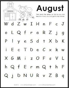 Simply Kinder: Letter Naming Fluency Freebie for each month Reading Fluency, Reading Intervention, Guided Reading, Phonics Activities, Letter Activities, Work Activities, Reading Activities, Nonsense Words, Letter Identification
