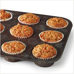 Carrot Cake Muffins | MyRecipes.com - These muffins have a secret: They're cake. Baking cakes in muffin tins makes them bake more quickly, which means that you get a single-serving dessert in no time. Pop one out of the tin with a fork and enjoy.