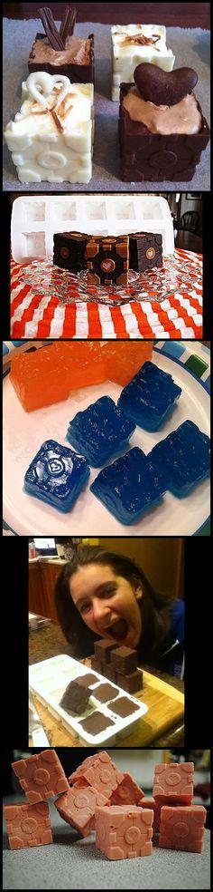 Portal 2 Companion Cube Ice Tray's Customer Action Shot.