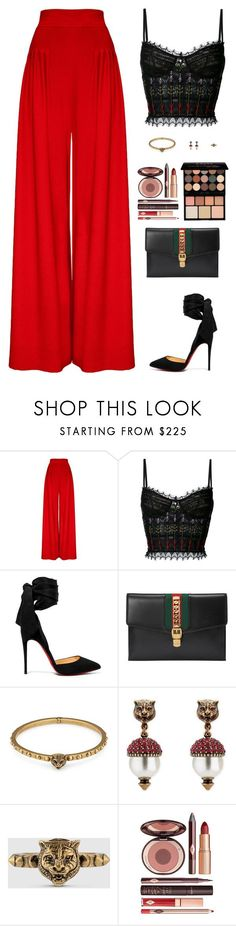 Untitled #5109 by mdmsb on Polyvore featuring Hebe Studio, Alexander McQueen, Christian Louboutin, Gucci, Charlotte Tilbury and NYX