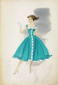 "Helen Rose costume sketch of Debbie Reynolds in ""Hit the Deck""  Debbie Reynolds - The Auction Finale Day 1 - Profiles in History"