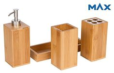 Bamboo Vanity Caddy Bath Countertop Organizer Set  Soap Pump  Toothbrush Holder  Stainless Steel Finish  Removable Ceramic Interior  Hand Made Modern Luxury Decor by Maxtir Bamboo 4Piece -- Details can be found by clicking on the image.