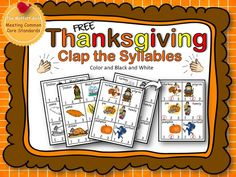 The Moffatt Girls: FREE Thanksgiving Clap the Syllables!