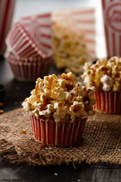 brown butter salted caramel popcorn cupcakes - a sweet and salty treat perfect for family movie night by deena Cupcake Recipes, Dessert Recipes, Desserts, Cupcake Ideas, Mini Cakes, Cupcake Cakes, Baking Cupcakes, Fancy Cakes, Popcorn Cupcakes