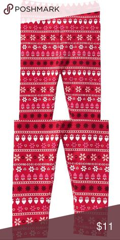 NWT Old Navy red fair isle holiday winter leggings New red fair isle  printed leggings from 1f3162e06
