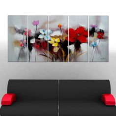 Colorful Flowers Canvas Oil Painting | 5 Piece | 1105
