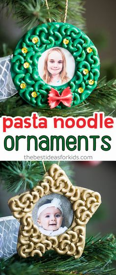 Pasta and Macaroni Noodle Ornaments - these are so easy kids of all ages can make these! Love that they can help glue on the noodles and do the painting too. Cute Christmas craft for kids! Great for preschool or kindergarten too. #bestideasforkids #kidscrafts #kidsactivities #craftsforkids #christmas #ornaments #christmascrafts #preschool #kindergarten