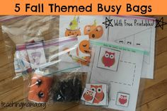 5 Fall Themed Busy Bags (with FREE printables!) Lots of great toddler activity ideas on her site