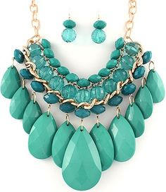 Teal Blue Color Acrylic Multi strand Bead Necklace Set