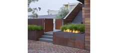 landscaping fire pit  feature modern