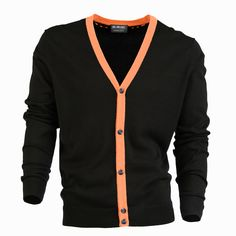 $120 McCardy in Black with Whiskey Contrast - Fine guage five button cardigan with contrast placket and stainless steel buttons.