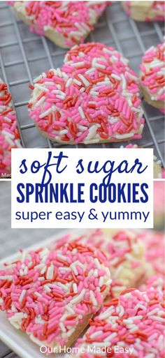 Easy Valentine's Day Cookies These sweet and soft sugar cookies are coated in pretty Valentine's sprinkles for a treat that touches the heart! Valentine's Day Sugar Cookies, Sprinkle Cookies, Sugar Cookies Recipe, Baby Cookies, Heart Cookies, Easter Cookies, Christmas Cookies, Lemon Cookies, Valentine Desserts