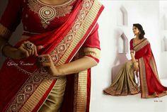 Rani's Wish – YourSarista Bollywood, Sari, Beige, Red, Collection, Closet, Fashion, Saree, Moda