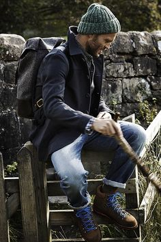 Jan's Harley, Tumblr blog to inspire Mountain style outfit   Jeans, hiking shoes, sports coat, backpack