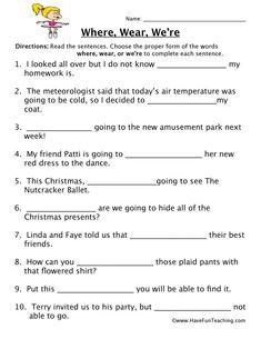 Where, Wear, We're Homophones Worksheet – Have Fun Teaching 6th Grade Worksheets, Language Arts Worksheets, Homeschool Worksheets, Spelling Worksheets, English Grammar Worksheets, Vocabulary Worksheets, Spelling Words, Writing Worksheets, Printable Worksheets