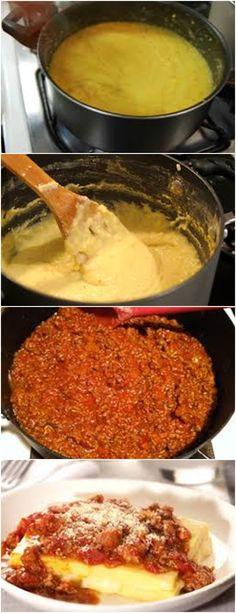 Deliciosa POLENTA COM MOLHO BOLONHESA...VEJA AQUI>>>Todos os ingredientes em uma panela e leve para ferver por 20 minutos.  #receita#pizzadecalabresa#paodecalabresa#massas#torta#lanches#salgados#hamburgueres#lasanha#macarrao#pao#polenta