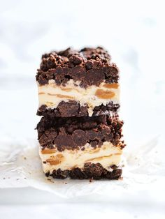 peanut butter and chocolate brownie ice-cream bars by Donna Hay