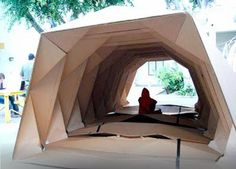 Origami cardboard shelter used as temporary shelter for victims of natural disaster.