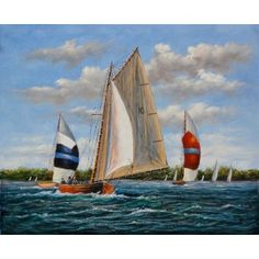 Coastal Sail Ships Race Maritime Oil Painting for sale on overArts.com