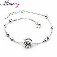 AAA 100% Sterling Silver 925 Jewelry Delicate Hollow Ball Bracelet Female Bracelet Genuine Free Shipping www.bernysjewels.com #bernysjewels #jewels #jewelry #nice #bags