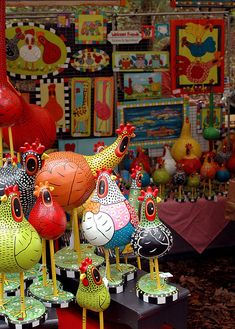 "Gourd Chickens by ""Those Kooky Chickens"" at the John C. Campbell Folk School Fall Festival 