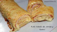 Este Rollo Salado de Jamón y Queso es muy fácil de preparar. Se prepara con patatas y se rellena de jamón cocido y queso y al horno.