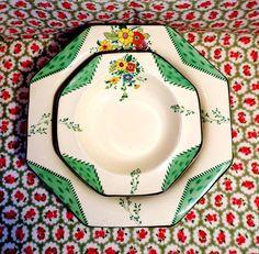 ART DECO China BURLEIGH WARE 7 Piece Dessert Bowls MAYTIME Set VINTAGE Rare