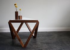 I love this table SO MUCH! The Tre side table originated from three Tre stool foot rests. By joining the triangles together, a geometric triangle base was created. Steel Furniture, Custom Furniture, Table Furniture, Furniture Design, Coffe Table, Wood Design, End Tables, Sweet Home, Interior Design
