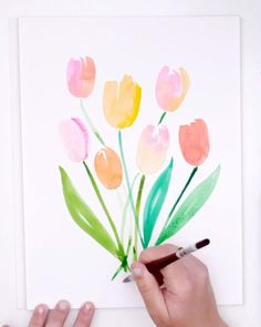 Learn to paint these super easy watercolor tulips! Watercolor Beginner, Watercolor Paintings For Beginners, Watercolor Techniques, Step By Step Watercolor, Beginner Painting, Abstract Watercolor, Watercolor Illustration, Watercolor Trees, Tattoo Watercolor
