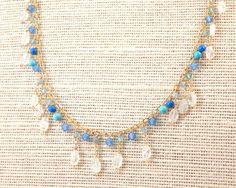 Surfer Girl Gemstone Fringe Necklace by FemininePersonae on Etsy