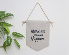 Wall banner wall hanging wall flag linen banner quote by Emodi