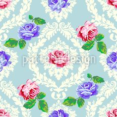Shabby Chic Roses Seamless Vector Pattern Seamless Vector Pattern by Figen Topbas Fukara at patterndesigns.com