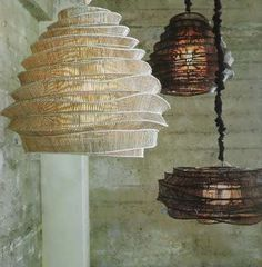This modern lighting sculpture was designed by a young Thai artist who trained fishermen to use traditional bamboo weaving techniques in non-traditional ways. The geometric joints of this intricately woven pendant are hand-tied, making each lamp unique. Cool Lighting, Lighting Design, Pendant Lighting, Modern Lighting, Bohemian Lighting, Pendant Chandelier, Light Pendant, Lamp Light, Light Up