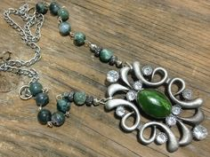 """Handmade Artisan One of Kind Fashion Green Stone Pendant & Beads Necklace 29"""" by GlancingBack on Etsy"""