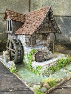 Moulin de style médiéval entièrement réalisé par Florence du Forum Passion des Villages. Tous droits réservés, 2015. Medieval Houses, Medieval Town, Kids Castle, Halls, Fantasy Model, 3d Modelle, Wargaming Terrain, Fantasy House, Hobby House