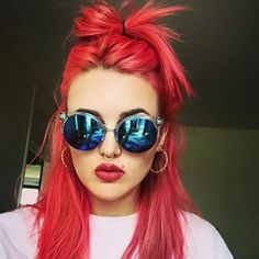 @itscherryamber has the brightest #coral locks thanks to #ManicPanic. Get this #color with #PrettyFlamingo.